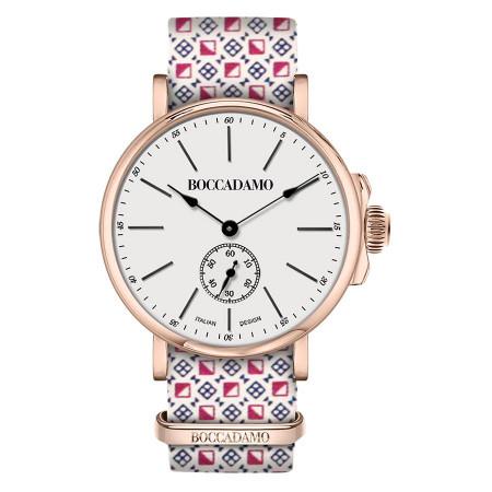 Orologio con cinturino sartoriale motivo optical e fibbia rosata