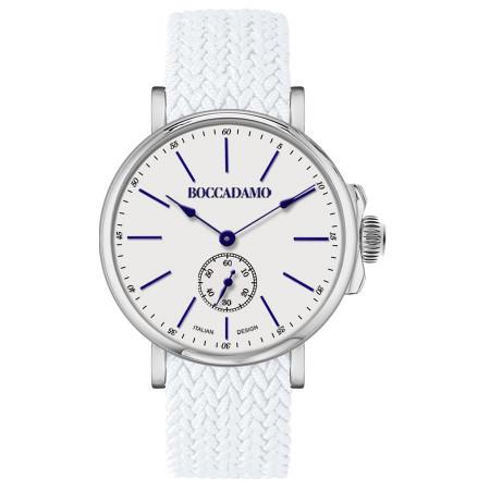 Orologio con quadrante bianco e cinturino in nylon Perlon bianco