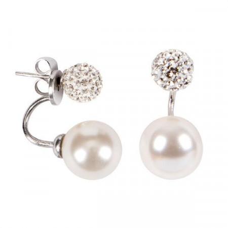 Orecchini asimmetrici con boule di strass e perla Swarovski bianca