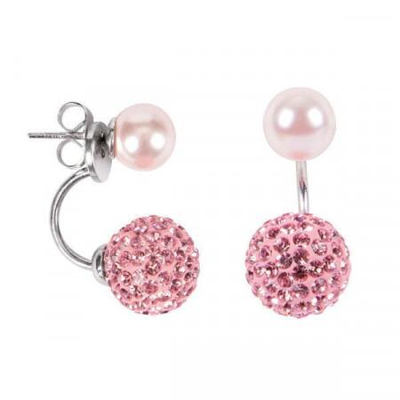 Orecchini asimmetrici con perla piccola Rosaline e boule di strass