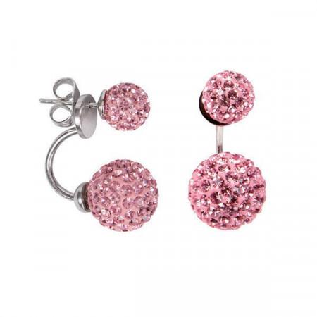 Orecchini asimmetrici con doppia boule di strass light rose