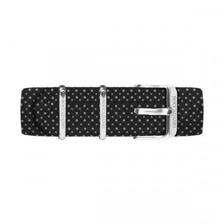 Cinturino di cotone a pois bianchi su fondo nero