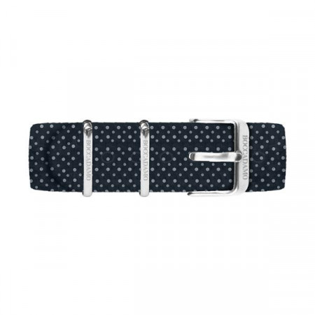 Cinturino di cotone a pois bianchi su fondo blu