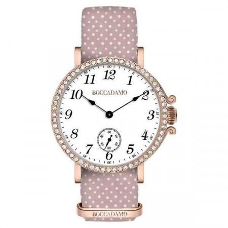 Orologio da donna con quadrante bianco, cassa rosata in Swarovski e cinturino di nylon rosa