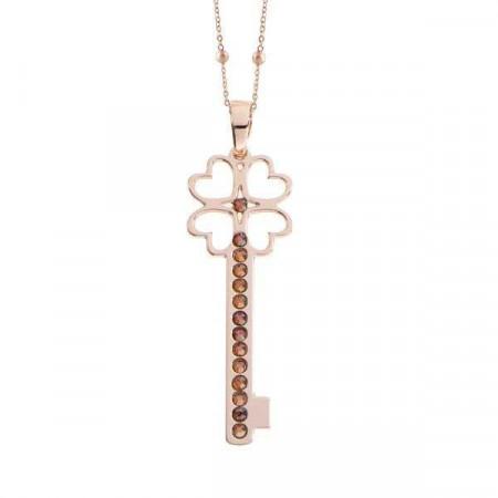 Collana con chiave pendente e cristalli copper