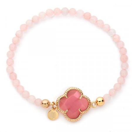 Bracciale con boules di quarzo rosa e centrale a forma di fiore