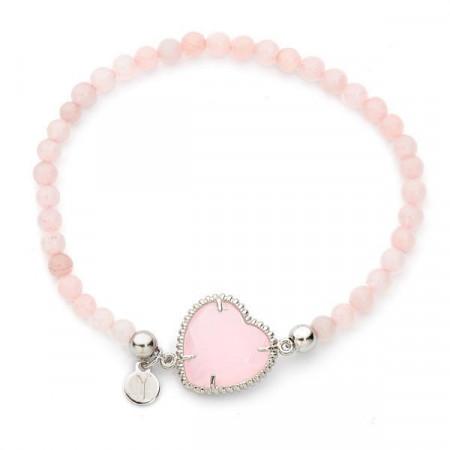 Bracciale con boules di quarzo rosa e centrale a forma di cuore