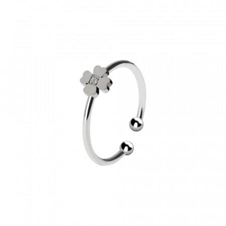 Anello rodiato con fiore e zircone incastonato