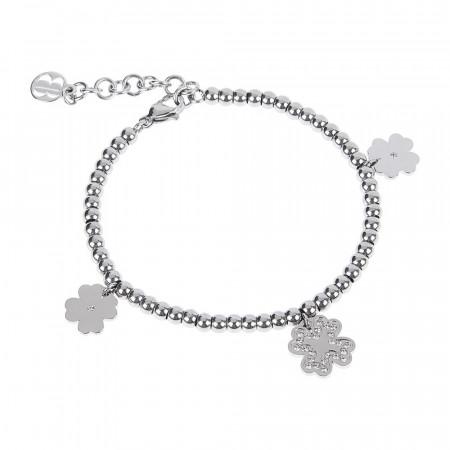 Bracciale bead con charm a forma di quadrifoglio