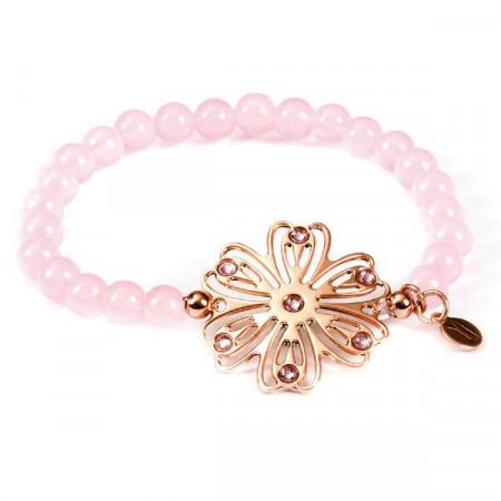 Bracciale elasticizzato in quarzo rosa