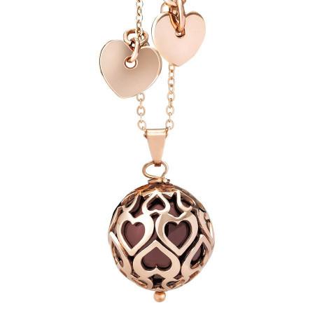 Collana con perla Swarovski bordeaux e cuori traforati