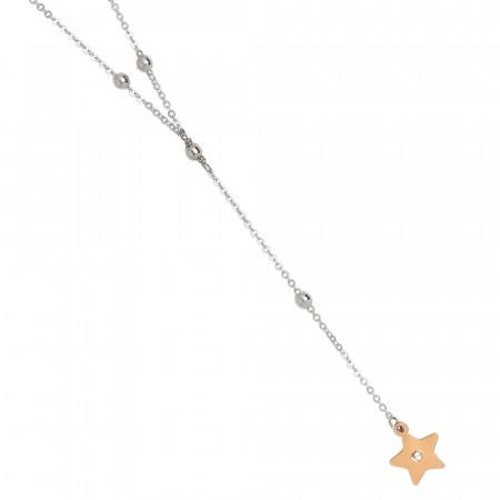 Collana a Y bicolor con stella pendente e strass