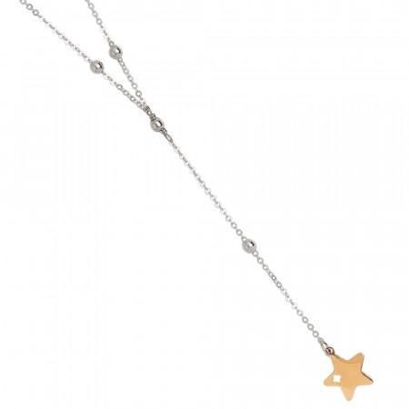 Collana a Y bicolor con stella pendente e pavè di strass