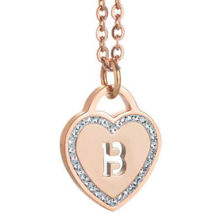 Collana con cuore e lettera B traforata
