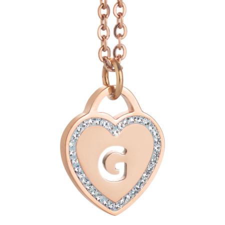 Collana con cuore e lettera G traforata