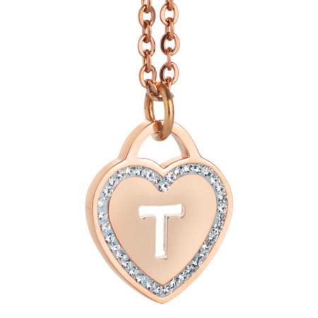 Collana con cuore e lettera T traforata