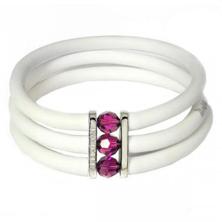 White rubber bracelet, rhodium plated bronze and amethyst Swarovski
