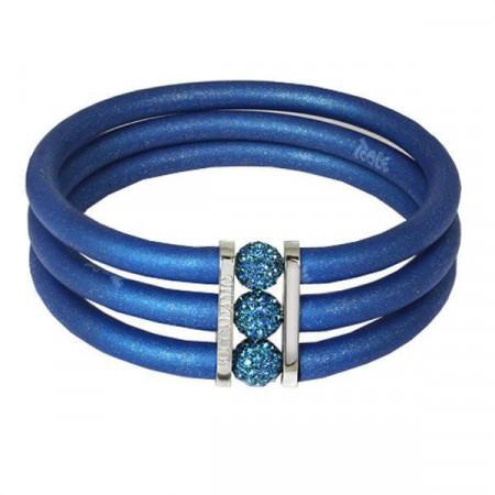 Bracciale in gomma blu, bronzo rodiato e strass