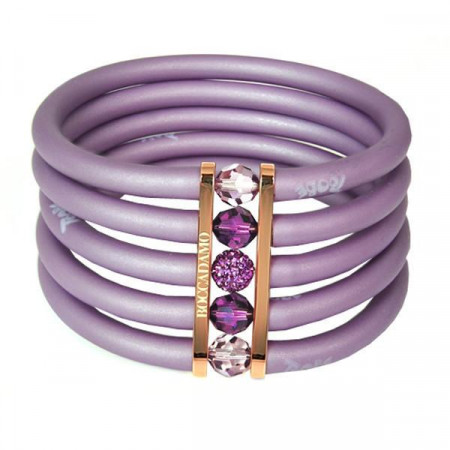 Bracciale in gomma viola madreperla, bronzo rosato e cristalli Swarovski