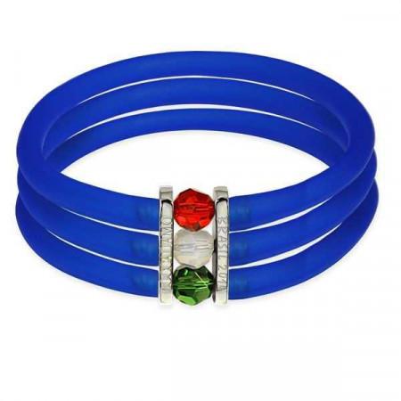 Bracciale in gomma blu zaffiro con chiusura tricolore Swarovski