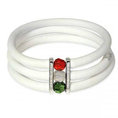 Bracciale in gomma bianco con chiusura tricolore Swarovski