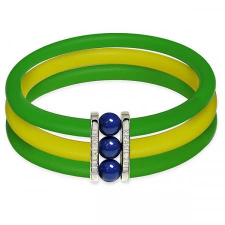 Rubber bracelet with multicolor Swarovski boules