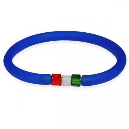 Bracciale in gomma blu zaffiro con chiusura tricolore cubica in Swarovski