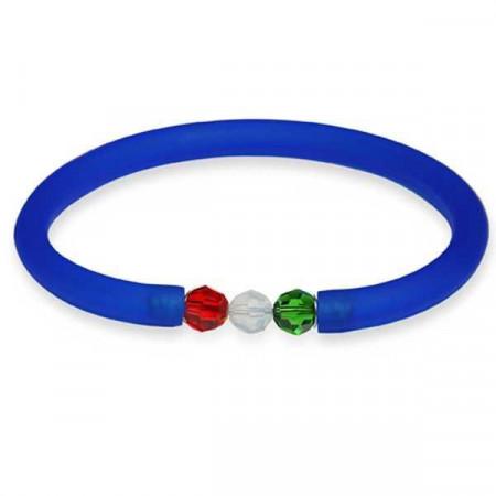 Bracciale in gomma blu zaffiro con chiusura tricolore Swarovski grande