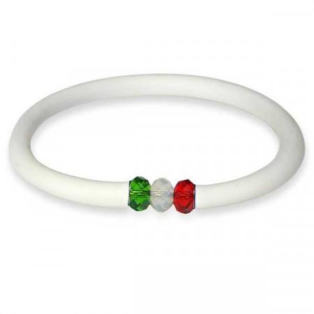 Bracciale in gomma bianco con chiusura Swarovski tricolore