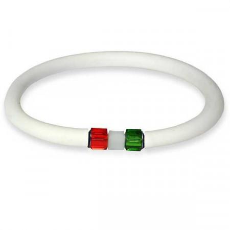Bracciale in gomma bianco con chiusura tricolore cubica in Swaroski