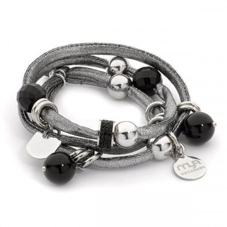 Bracciale triplice indosso in lycra color argento
