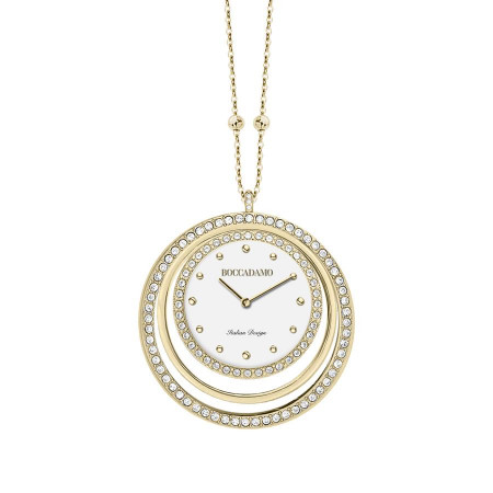 Collana-orologio in bronzo placcato oro giallo con cerchi in Swarovski