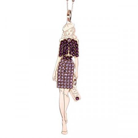 Collana bambolina con outfit color ametista