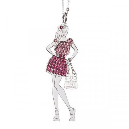 Collana bambolina con outfit rosa e fucsia