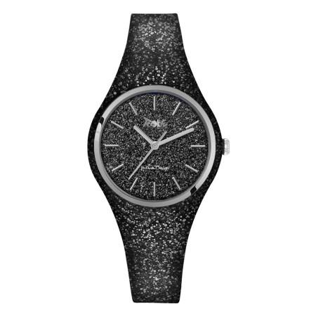 Orologio donna in silicone e quadrante glitterato nero
