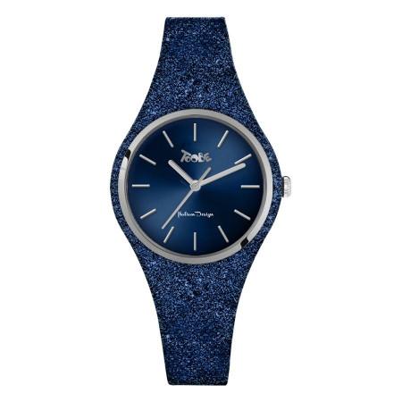 Orologio donna in silicone glitterato blu cobalto e quadrante blu
