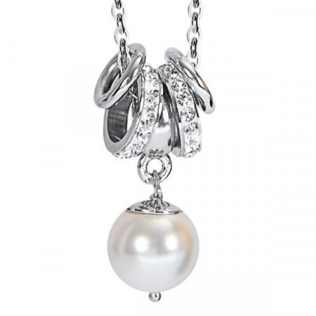 Collana con perla Swarosvki bianca e strass bianchi