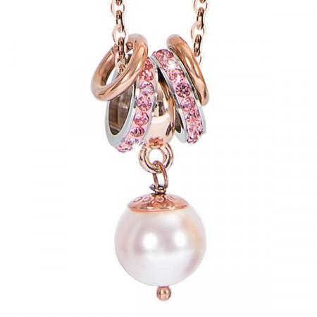 Collana con perla Swarovski rosaline e strass