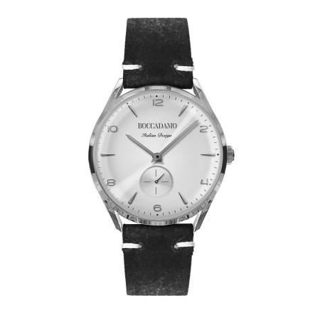 Orologio vintage con contasecondi e cinturino in pelle nera effetto invecchiato