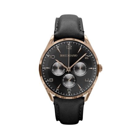 Orologio vintage multifunzione con cinturino in pelle e quadrante nero