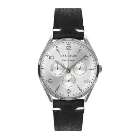 Orologio vintage con cinturino in pelle nera effetto invecchiato