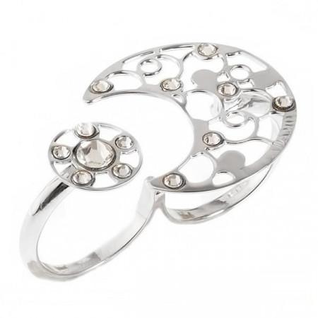 Anello doppio con decoro rugiada e cristalli crystal