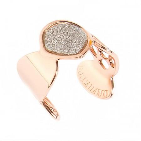 Anello a fascia placcato oro rosa con glitter