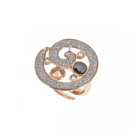 Anello con glitter e mosaico di Swarovski dalle sfumature silver
