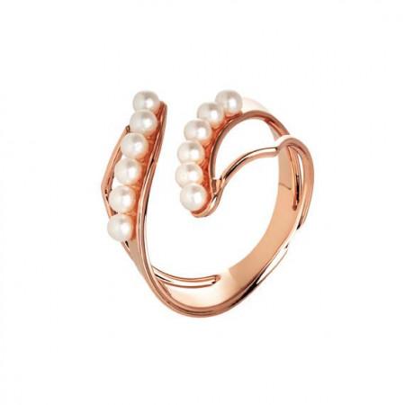 Anello rosato contrariè con superficie in perle Swarovski