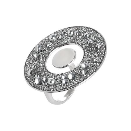 Anello concentrico con superficie circolare in Swarovski galuchat silver