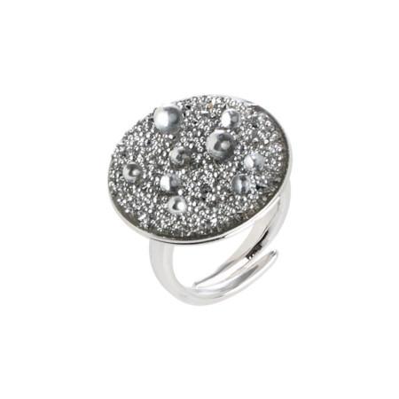 Anello regolabile con superficie Swarovski galuchat silver