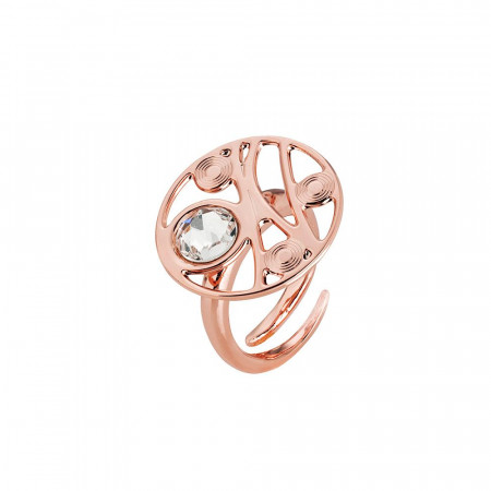 Anello base circolare placcato oro rosa con decoro a onda e Swarovski