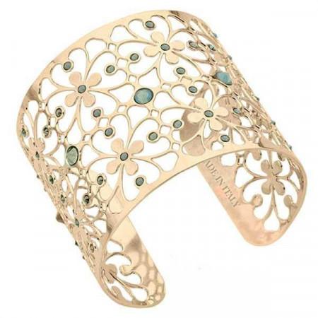Bracciale in bronzo e cristalli Swarovski verde malva opale