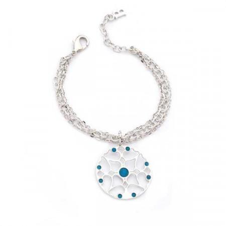 Bracciale in bronzo e cristalli Swarovski blu caraibico opale